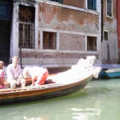 Dog in Boat, Canal Venice Italy
