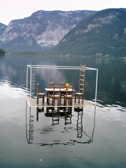 Image of boots on lake. Hallstatt Austria